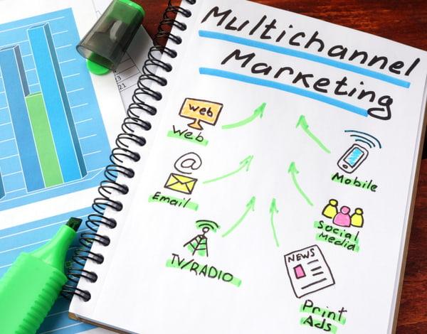 Multi channel marketing written in a notebook and marker
