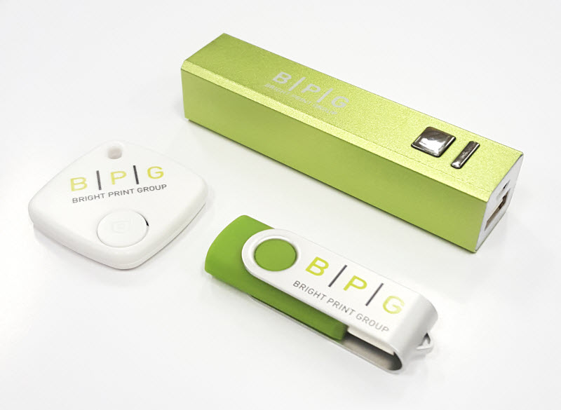 Green useful items with logo of BPG