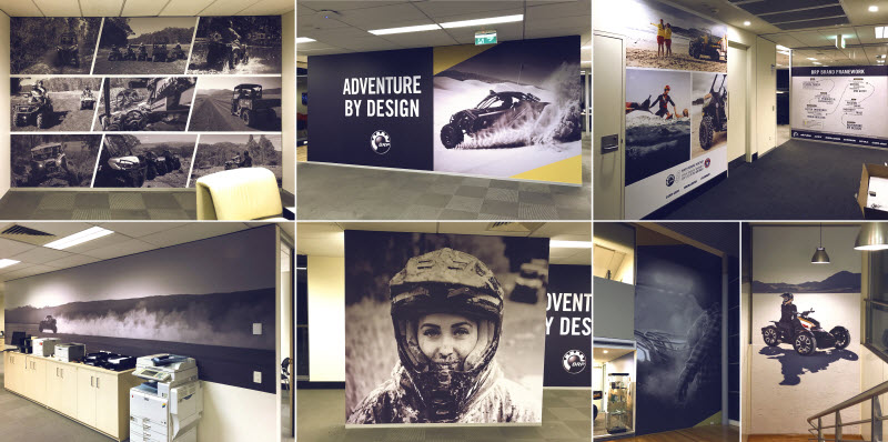 Wall interior of motorcycles inside an office