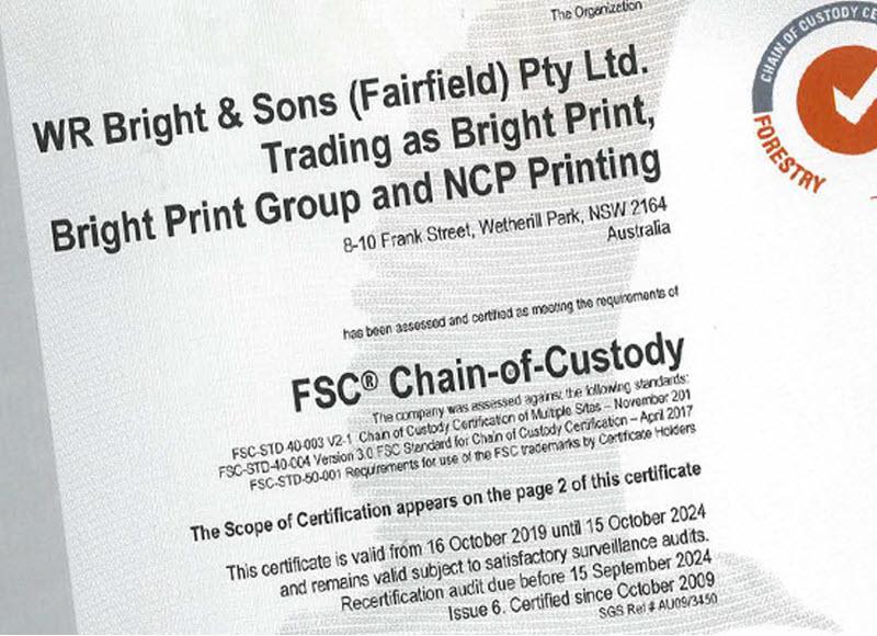 Chain of Custody Certification