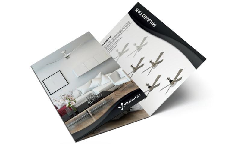 Three fold brochure of Milano fan
